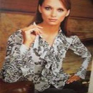 CAbi Ruffle Blouse  #731  Button Front Sheer
